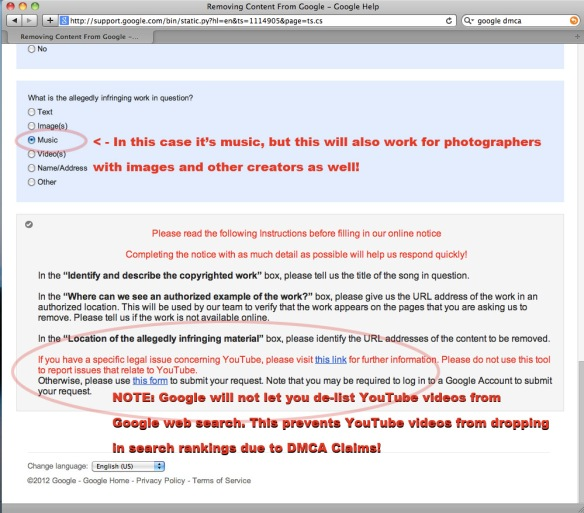 How to DMCA : Google Web Search, De-Listing Infringing Links