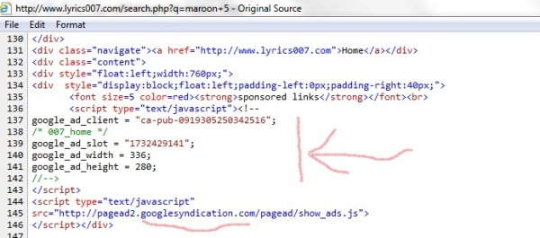 Lyrics007 Google Ads Code 1