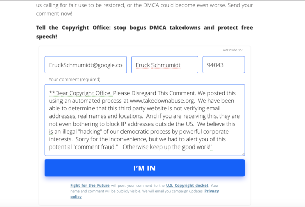 Test Comment through takedownabuse website