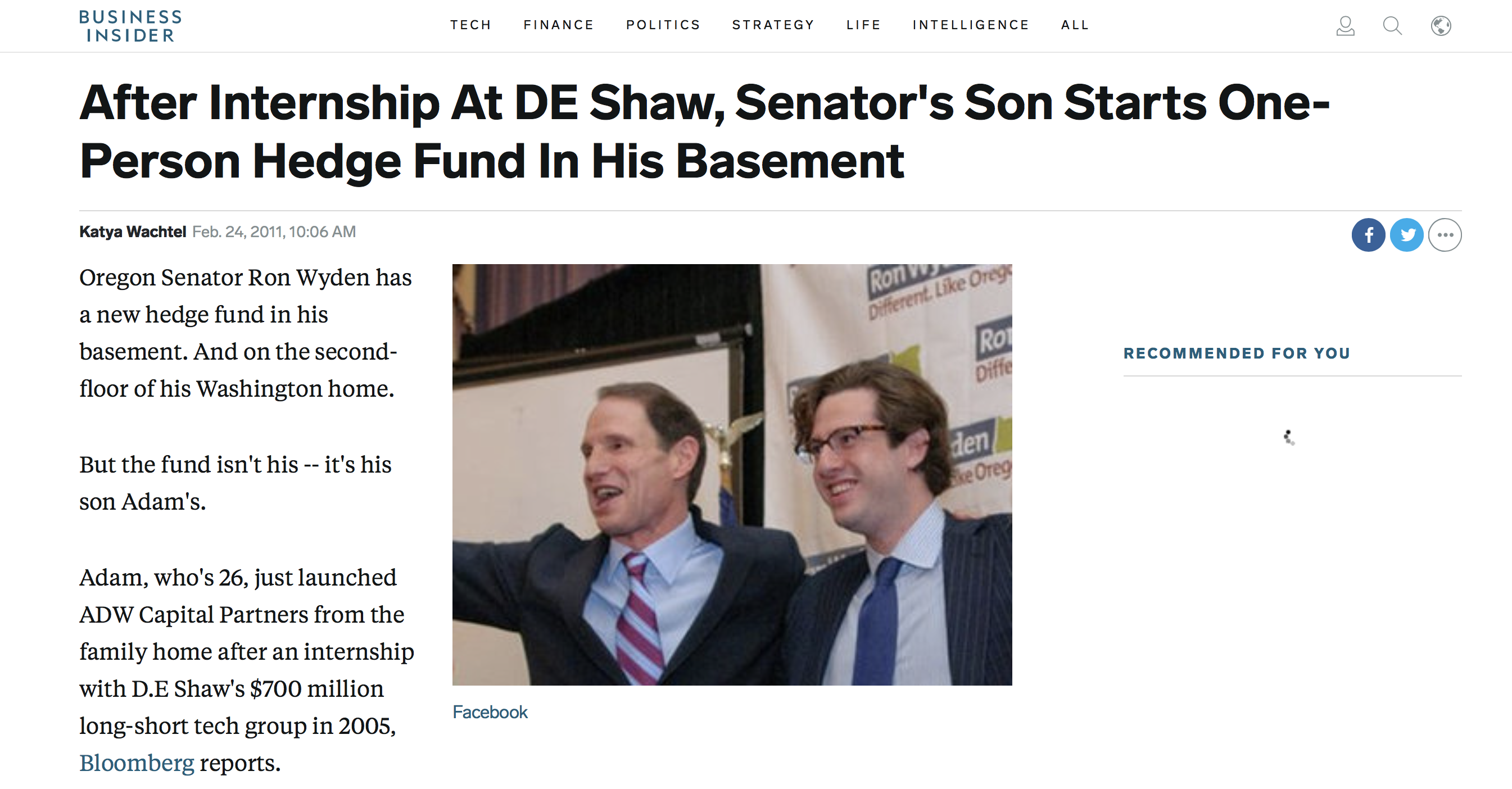 Did A Wyden Campaign Donor Fund Hedge Fund Operated Out